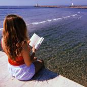 reading book sea